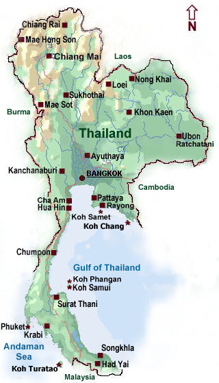 Kort over THAILAND